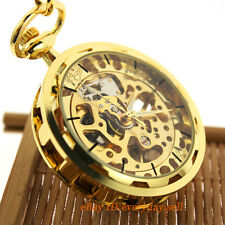 Antique Full Gold Mechanical Movement See Through Dial Mens Pocket Watch + Chain