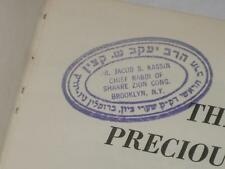 COPY OF CHIEF SYRIAN RABBI JACOB S. KASSIN The Most Precious Gift a Collection