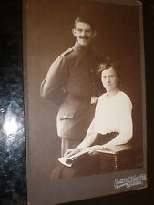 Cdv cabinet photograph soldier wife by Herzfeld at Dresden Germany c1910s