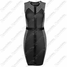 NEW WOMENS LADIES TEXTURE DOT SIDE BODYCON DRESSES BLACK WET LOOK SLIMMING DRESS