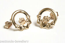 9ct Gold Claddagh Stud Earrings Gift boxed Made in UK