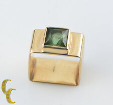 Cartier Vintage 18k Yellow Gold Dinh Van Square Tourmaline Modernist Ring Sz 4.5