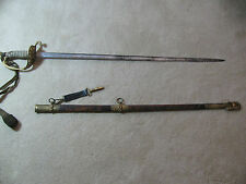 USN MILITARY DRESS SWORD ENGRAVED LEATHER SCABBARD & HANGING KNOT JACOB REED