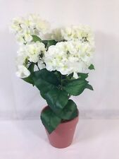 * Sincere Floral Artificial Hydrangea In White In Terracotta Effect Pot New