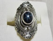 Star Sapphire Artisan Designed Ring in 925 Sterling Silver sz 5 -- 3.17cts, 7.1g