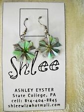 UNIQUE SHLEE HANDMADE MULTI-COLOR ORAGAMI PAPER FLOWER DROP DANGLE HOOK EARRINGS