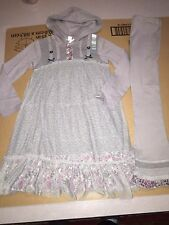 NWT NAARTJIE LACE OVERLAY HOODED DRESS & POINTELLE TULLE PANTS SET SIZE 7