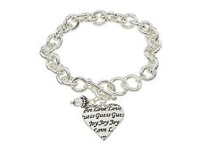 NWT Guess Silver Metal-Clear Bead & Logo Engraved Heart Charm Toggle Bracelet