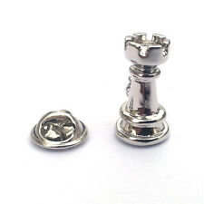 CASTLE LAPEL PIN BADGE Rook Chess Piece Player Tournament Club Birthday Present