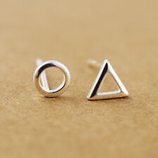 925 Sterling Silver Tiny Circle Triangle Stud Earrings for women A1901