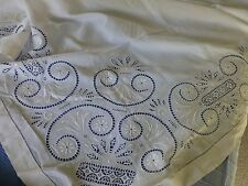 Antq French Empire style  embroidered lace tablecloth bedspread monogram IHT