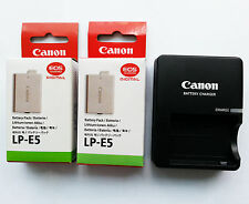 Two LP-E5 Battery & LC-E5E Charger for Canon XSi 450D 500D 1000D X2 X3 F T1i XS