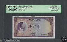 Libya - Kingdom of Libya 1/2 Pound 1-1-1952 P15s Specimen About Uncirculated