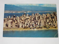 VINTAGE Vancouver Skyline with English Bay Foreground Harbour Postcard BC Canada