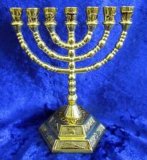 """12 Tribes of Israel Emblems Jewish 7 Branch Gold Temple Menorah 5"""" inches Tall"""