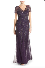 ADRIANNA PAPELL BEADED SHORT SLEEVE A-LINE GOWN AMETHYST DRESS sz 16