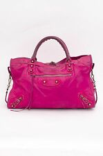 BALENCIAGA Pink Purple Motorcycle City Magenta Brass Chevre Leather Zip Handbag