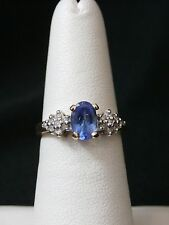 10k Yellow Gold Tanzanite and Diamond Solitaire Ring Size 5.25 Make Offer! #2733