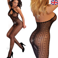 Plus size 16-22 Lace Halter Catsuit Bodystocking Lingerie Fishnet Stripe 24BAM