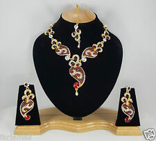 Handmade CZ Kundan Style Awesome Partywear Fashion Necklace Set Earrings TIkka