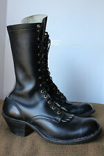 "Vintage 1960s  11"" Mens Packer Boots Leather Sole Motorcycle 10.5 D USA Biltrite"