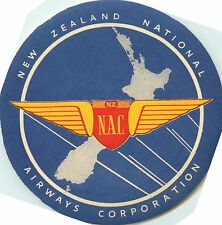 NEW ZEALAND NATIONAL AIRWAYS `NAC~ Old Airline Luggage Label, 1955