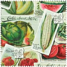 VINTAGE STYLE WINDHAM FARM STAND SEED PACKETS FABRIC