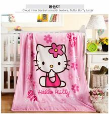 Cute Cat Hello Kitty Warm Soft Plush Flannel Throw Blanket Kid's Gifts 100×140cm