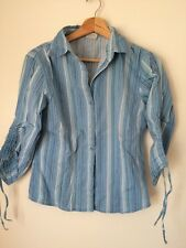 Topic Size S 10 Blue Stripe Cotton Stretch Long Sleeve Blouse Shirt  T4957