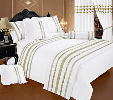 DOUBLE BED WHITE / GOLD RIBBON 200 THREAD COUNT HOTEL QUALITY DUVET COVER SET
