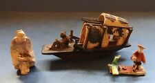 MINIATURE JAPANESE POTTERY BOAT & FIGURES - 20TH CENTURY