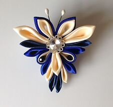 Handmade Blue Ivory Beige Kanzashi Fabric Butterfly Hair Clip Accessory Barrette