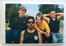Vintage PHOTO 3 Brothers With Their Motorcycle Loving Uncle On A Park Bench