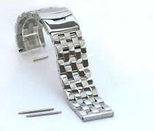 24mm SOLID POLISHED DOUBLE LOCK HEAVY STAINLESS STEEL WATCH BAND,BRACELET
