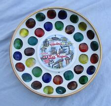 Vintage Mid Century Las Vegas Casinos Inlaid colored stones Tray Dish Souvenir