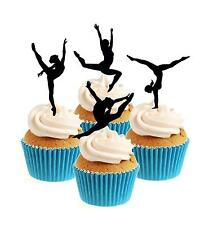 Novelty Gymnast Mix ANY COLOUR 12 Edible Stand Up wafer paper cake toppers