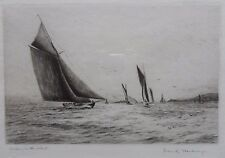 FRANK HARDING STUNNING PENCIL SIGNED LTD ED ETCHING 'YACHTING IN THE SOLENT'