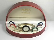 Vintage Alfex Bangle Watch Interchangeable Bezel Switzerland Swiss Women