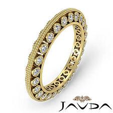 Round Diamond Womens Milgrain Eternity Wedding Band Ring 18k Yellow Gold 0.59Ct