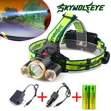 30000LM CREE XM-L Skywolfeye 3xT6 LED Headlight Headlamp 18650 Torch/Charger USA
