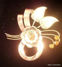 1940s Signed Harry Iskin Two Tone GF Floral Round Cut Sun Yellow RS 3898