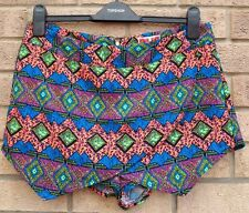 RIBBON MULTI COLOR NEON TRIBAL AZTEC ETHNIC SKORT FUNKY  HOT PANTS SHORTS 12 M