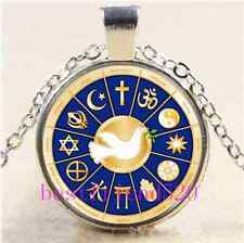 Dove of Peace Cabochon Glass Tibet Silver Chain Pendant Necklace