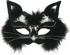 CATWOMEN TRANSPARENT BLACK CAT MASQUERADE EYE MASK HALLOWEEN FANCY DRESS EM433