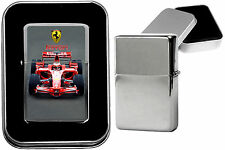 FERRARI  F1  Photo on Metal Chrome Black Flip Top Petrol Lighter Birthday Gift