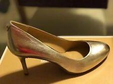 Michael Kors Flex Mid Pump Pale Gold Metallic Leather Women's 7M (37M)