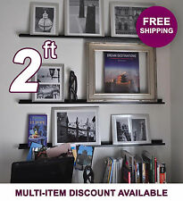 24in ultraLEDGE Black Metal Floating Shelf, Picture Ledge, Photo & Art Display