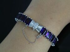 Rare Antique 14K White Gold Emerald Purple Amethyst Single Cut Diamond Bracelet