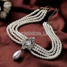Lady Gold Tone Multi-strand Chain Faux Pearl Cameo Pendant Choker Necklace