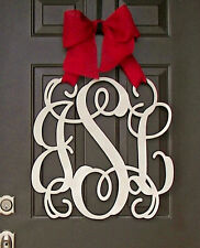 Wooden MONOGRAM door hanger/wreath/Initial/burlap bow/decor/burlap bow/chevron